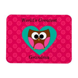 World's greatest grandma cute owl rectangular magnet