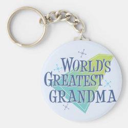 Basic Button Keychain with World's Greatest Grandma design