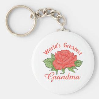 WORLDS GREATEST GRANDMA BASIC ROUND BUTTON KEYCHAIN