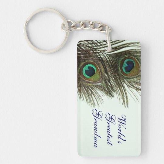 World's Greatest Grandma Peacock Feather Keychain