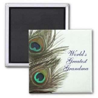 World's Greatest Grandma Peacock Feather Magnet