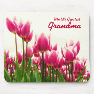 World's Greatest Grandma Personalized Pink Tulip Mouse Pad