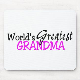 Worlds Greatest Grandma Pink Black Mouse Pad