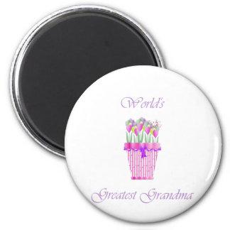 world's greatest grandma (pink flowers) 2 inch round magnet