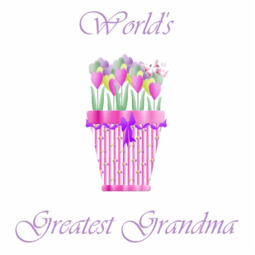 world's greatest grandma (pink flowers) cut outs