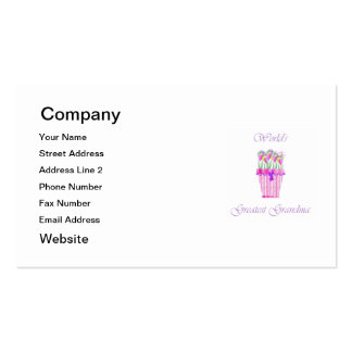 world's greatest grandma (pink flowers) Double-Sided standard business cards (Pack of 100)