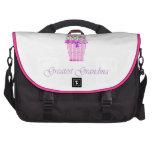 world's greatest grandma (pink flowers) laptop computer bag