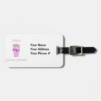 world's greatest grandma (pink flowers) bag tag