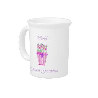 world's greatest grandma (pink flowers) drink pitcher