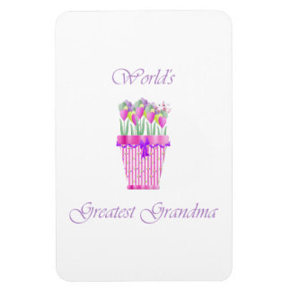 world's greatest grandma (pink flowers) rectangular photo magnet