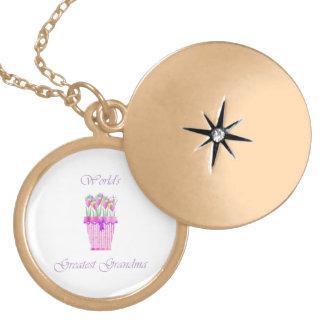 world's greatest grandma (pink flowers) round locket necklace