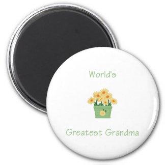 world's greatest grandma (yellow flowers) 2 inch round magnet