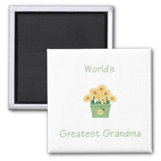 world's greatest grandma (yellow flowers) 2 inch square magnet