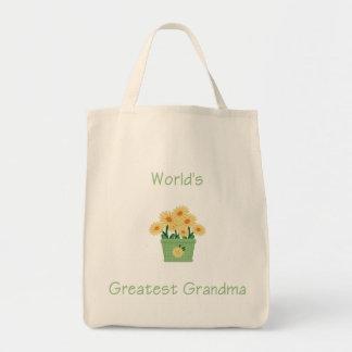 world's greatest grandma (yellow flowers) tote bags