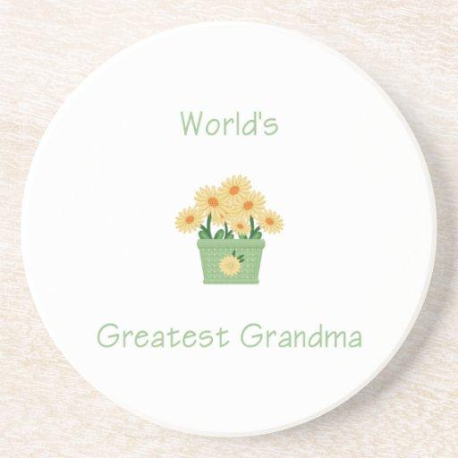 world's greatest grandma (yellow flowers) beverage coasters