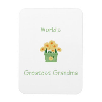 world's greatest grandma (yellow flowers) vinyl magnets