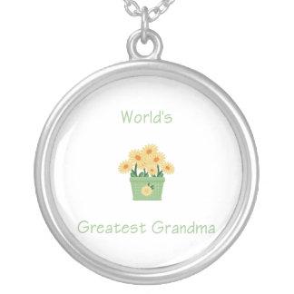 world's greatest grandma (yellow flowers) round pendant necklace