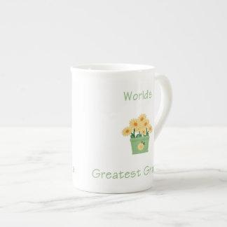 world's greatest grandma (yellow flowers) bone china mug