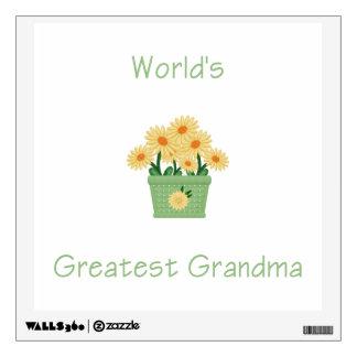 world's greatest grandma (yellow flowers) wall sticker