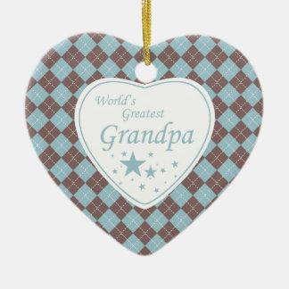 World's Greatest grandpa argyle heart ornament