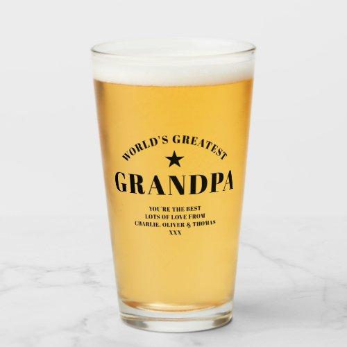 World's Greatest GRANDPA Black Personalized Pint Glass