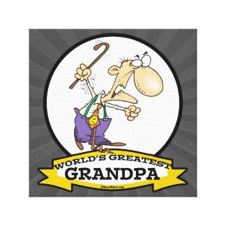 WORLDS GREATEST GRANDPA CARTOON CANVAS PRINT
