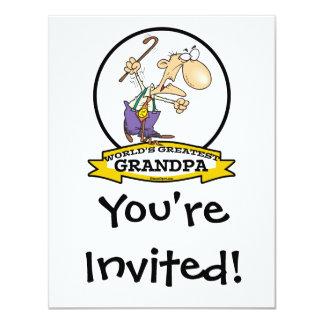 WORLDS GREATEST GRANDPA CARTOON 4.25X5.5 PAPER INVITATION CARD