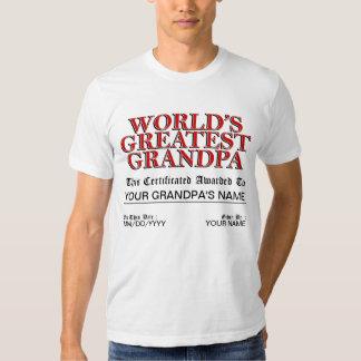 World's Greatest Grandpa Certificate Shirt
