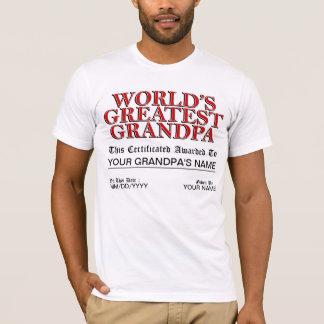 World's Greatest Grandpa Certificate T-Shirt