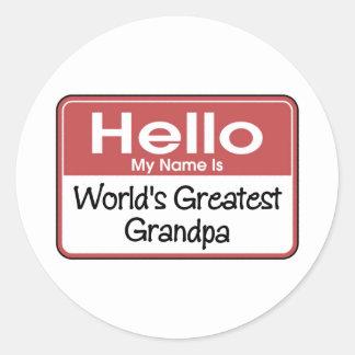 World's Greatest Grandpa Gift Classic Round Sticker