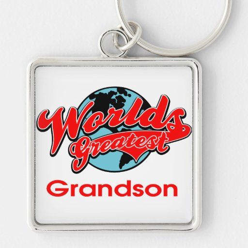 World's Greatest Grandson Silver-Colored Square Keychain