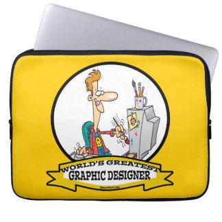 WORLDS GREATEST GRAPHIC DESIGNER MEN CARTOON LAPTOP COMPUTER SLEEVE