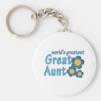 World's Greatest Great Aunt Fabric Flowers Basic Round Button Keychain