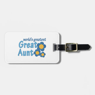 World's Greatest Great Aunt Fabric Flowers Luggage Tags