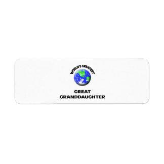 World's Greatest Great Granddaughter Return Address Label