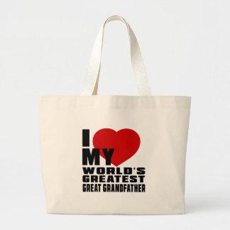 WORLD'S GREATEST GREAT GRANDFATHER JUMBO TOTE BAG