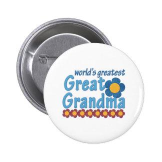 World's Greatest Great Grandma Fabric Flowers Button