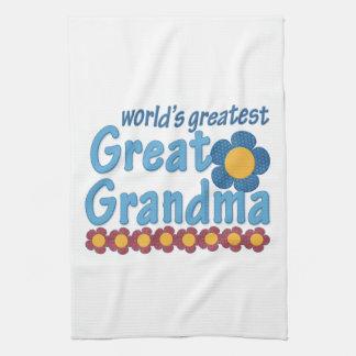 World's Greatest Great Grandma Fabric Flowers Hand Towels