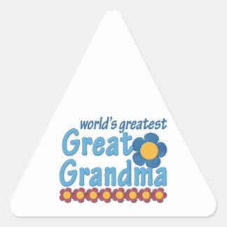 World's Greatest Great Grandma Fabric Flowers Triangle Sticker