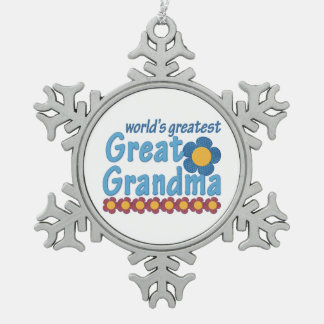 World's Greatest Great Grandma Snowflake Pewter Christmas Ornament