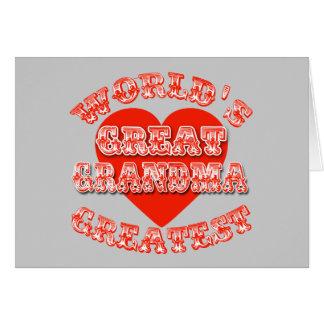 World's Greatest Great Grandma Tshirts & Gifts Greeting Card