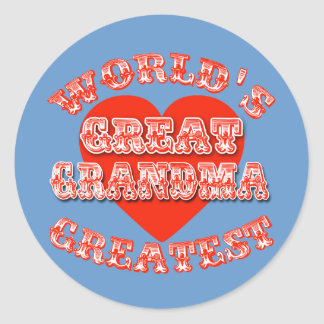 World's Greatest Great Grandma Tshirts & Gifts Classic Round Sticker