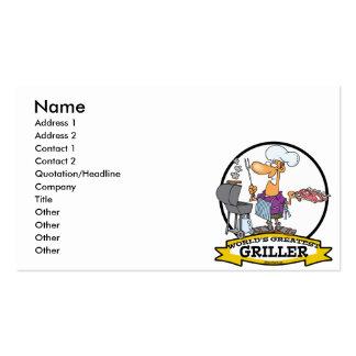 WORLDS GREATEST GRILLER MEN CARTOON BUSINESS CARD