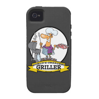 WORLDS GREATEST GRILLER MEN CARTOON VIBE iPhone 4 CASES