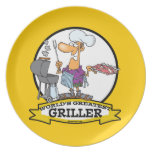 WORLDS GREATEST GRILLER MEN CARTOON PLATE