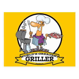 WORLDS GREATEST GRILLER MEN CARTOON POSTCARD