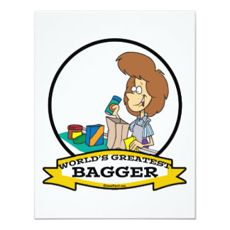 WORLDS GREATEST GROCERY BAGGER WOMEN CARTOON 4.25X5.5 PAPER INVITATION CARD
