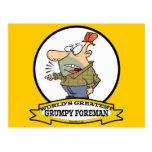 WORLDS GREATEST GRUMPY FOREMAN MEN CARTOON POSTCARD