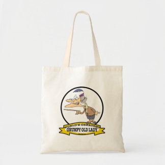 WORLDS GREATEST GRUMPY OLD LADY CARTOON TOTE BAG
