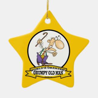 WORLDS GREATEST GRUMPY OLD MAN CARTOON CERAMIC ORNAMENT